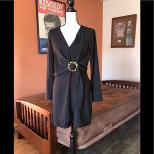 TOPSHOP faux wrap style black dress